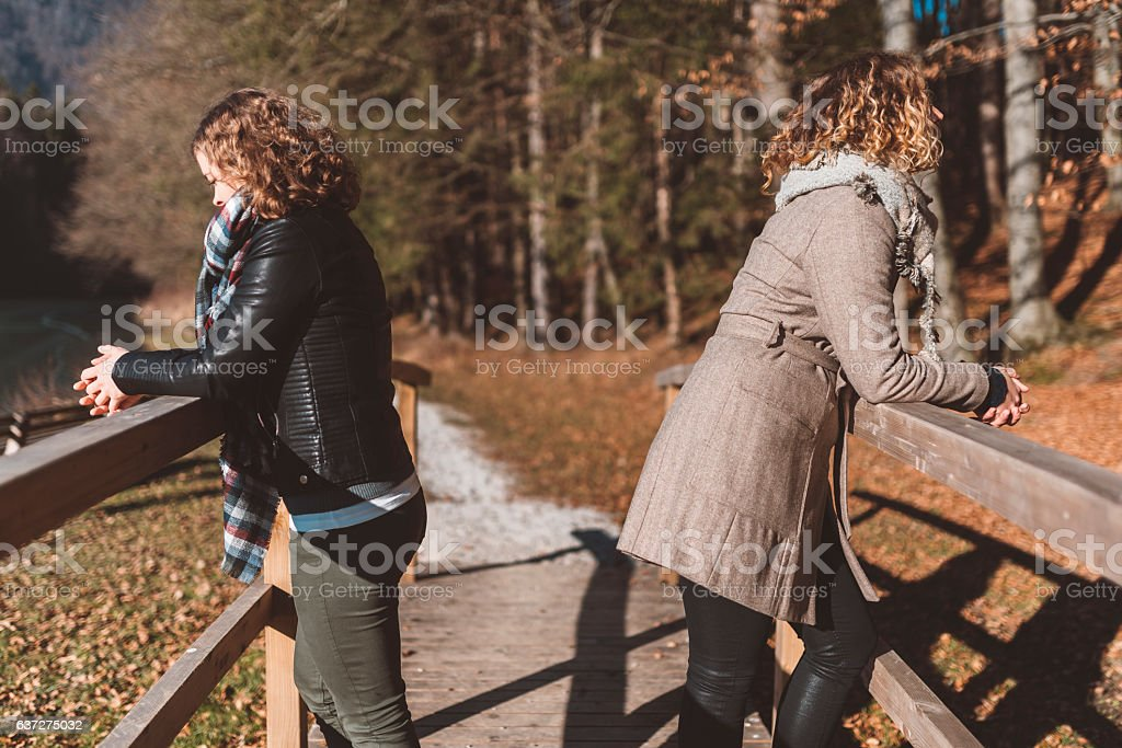 Two friends standing on a bridge by the lake stock photo