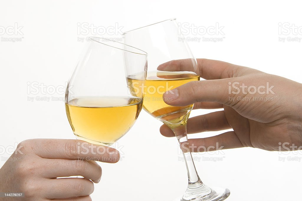 Two friends toast wine royalty-free stock photo