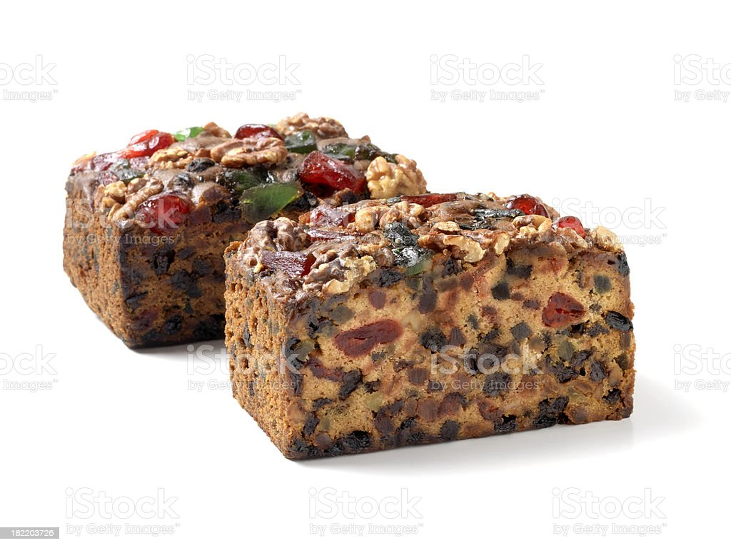 Two Fruit Cakes with Nuts royalty-free stock photo