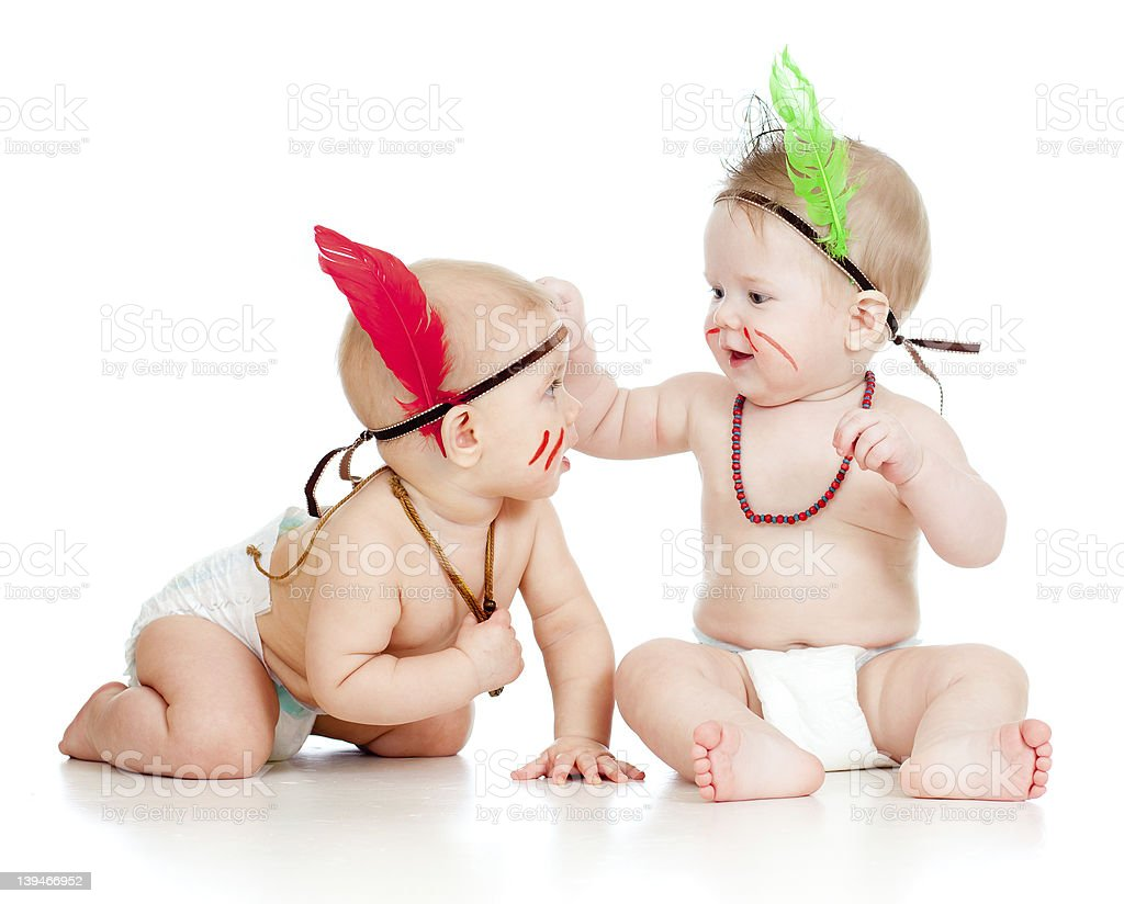 Two funny little children on white background royalty-free stock photo