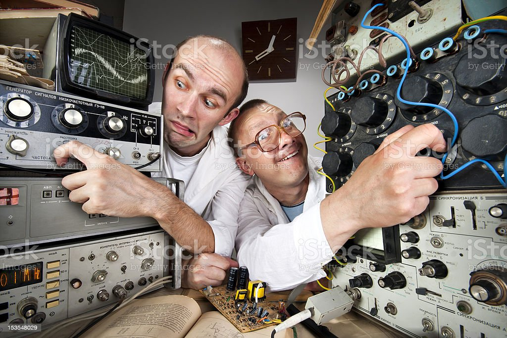 Two funny nerd scientists stock photo