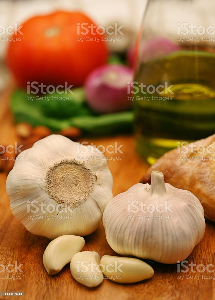 two garlics stock photo
