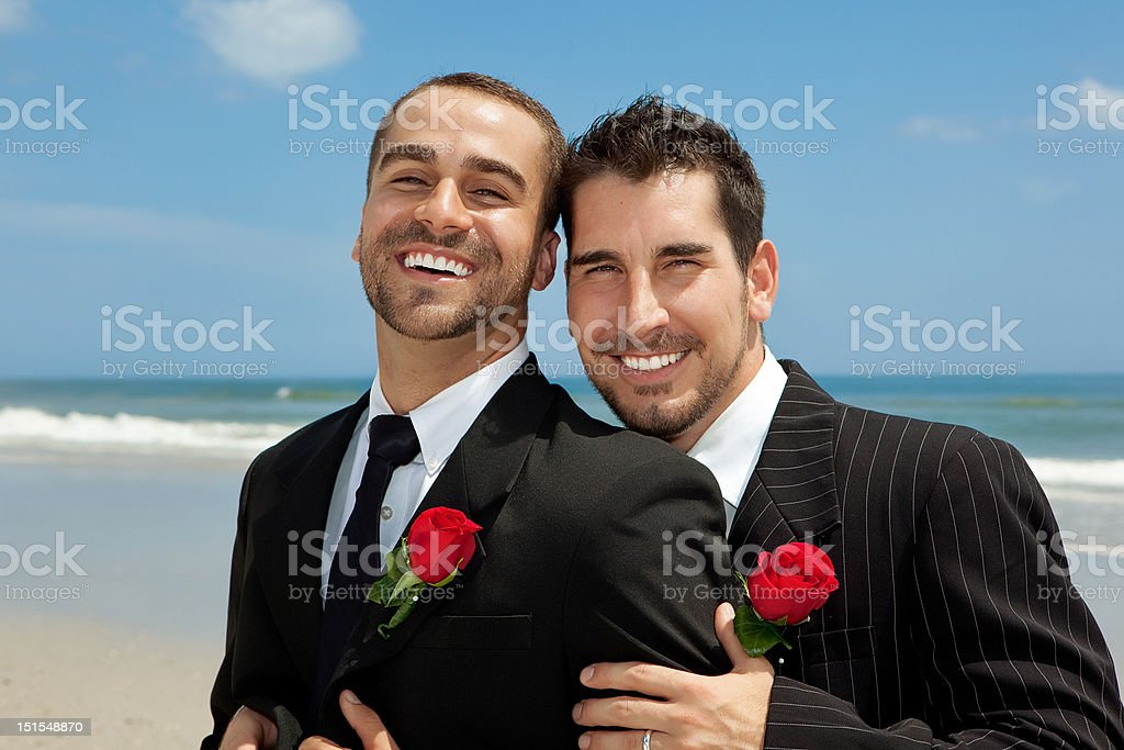 Two gay grooms stock photo