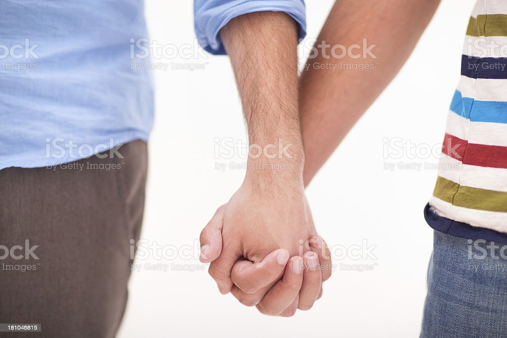 Two gay man holding hands royalty-free stock photo