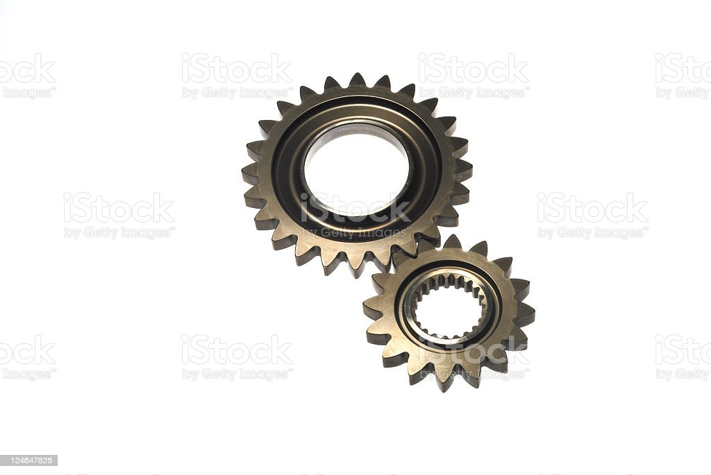 Two gears in mesh isolated on white royalty-free stock photo