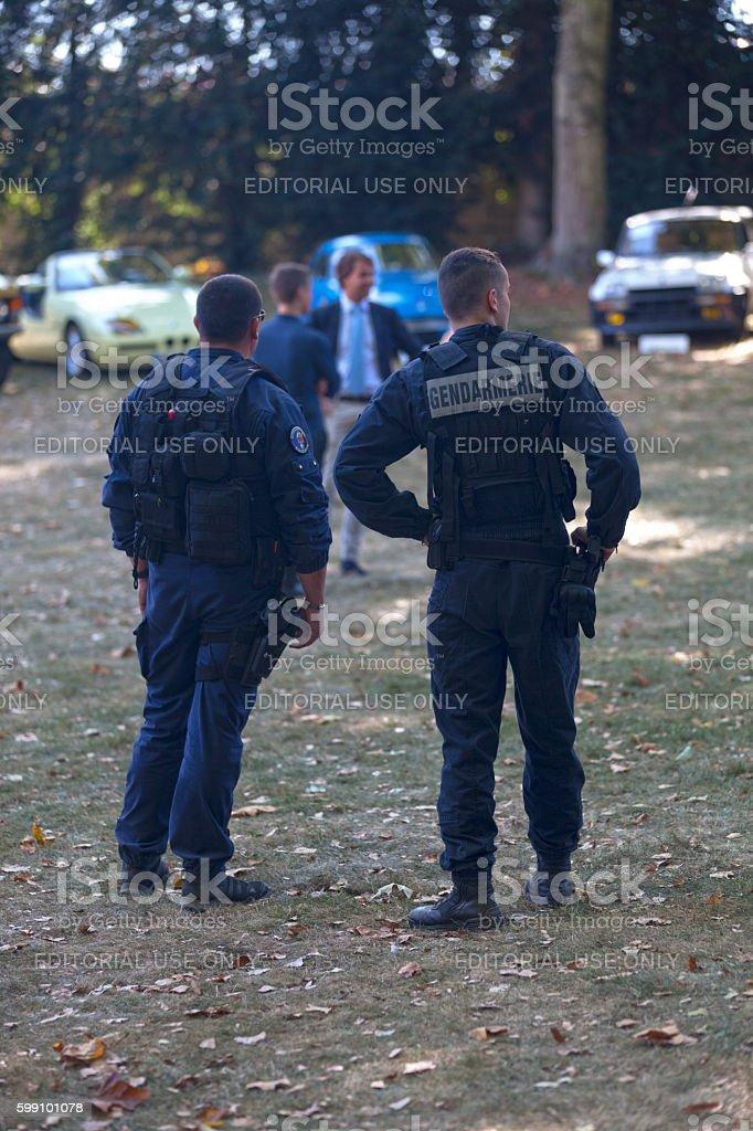 Two gendarmes on patrol stock photo