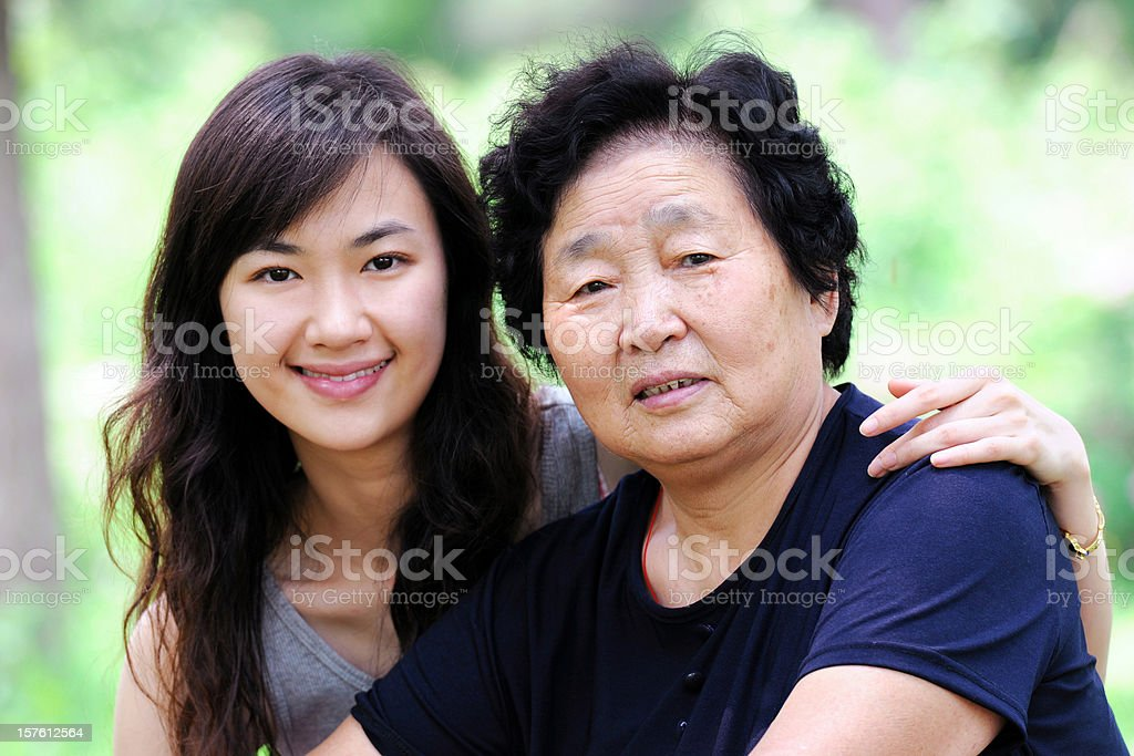 Two Generation Asian Woman royalty-free stock photo