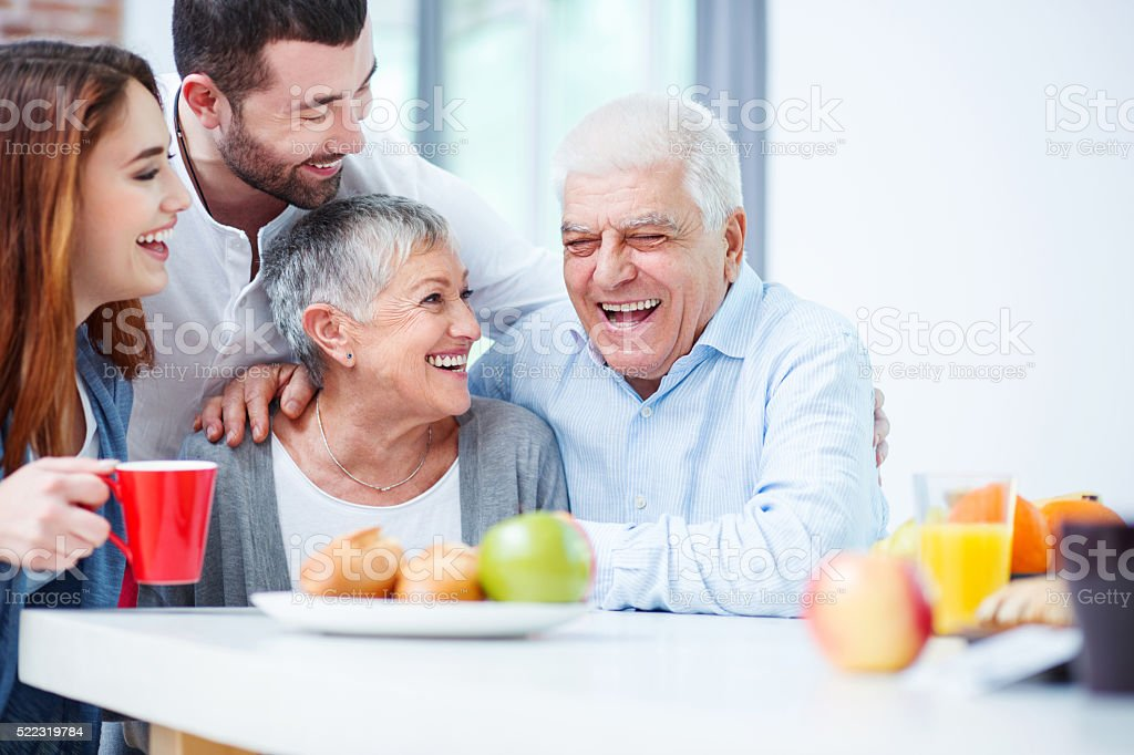 Two generation family stock photo