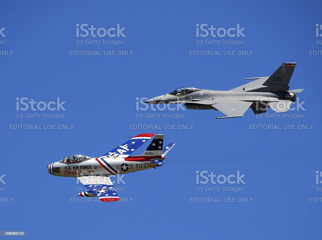 Two generations of US jetfighters royalty-free stock photo