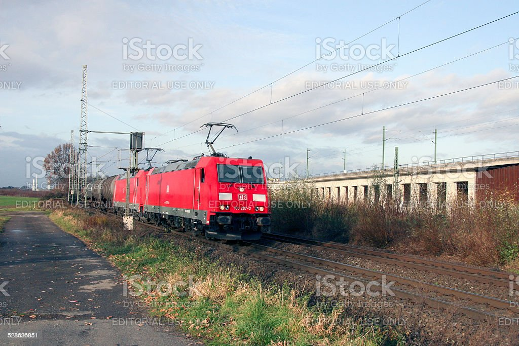 Two German electric locomotives type BR 185 stock photo