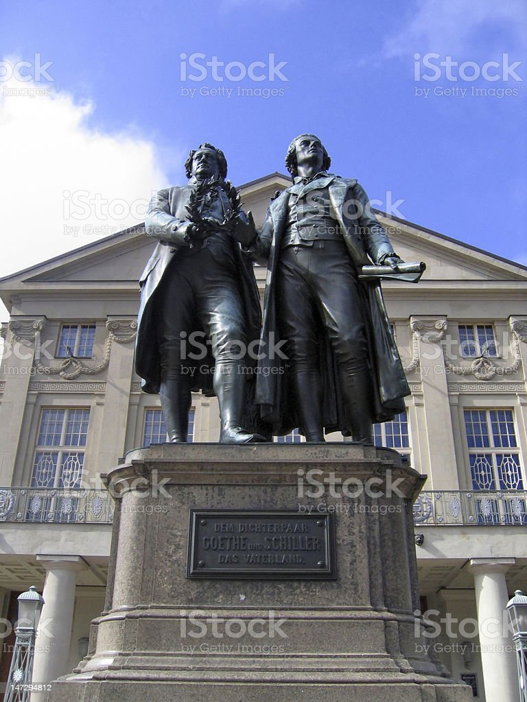 Two German poets in Weimar stock photo