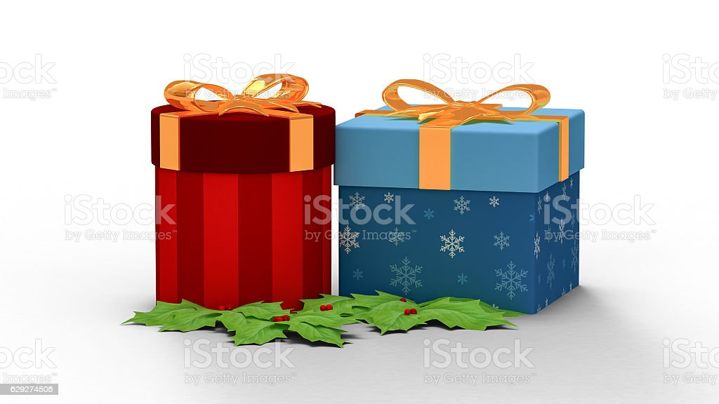 two gift box in Christmas day stock photo