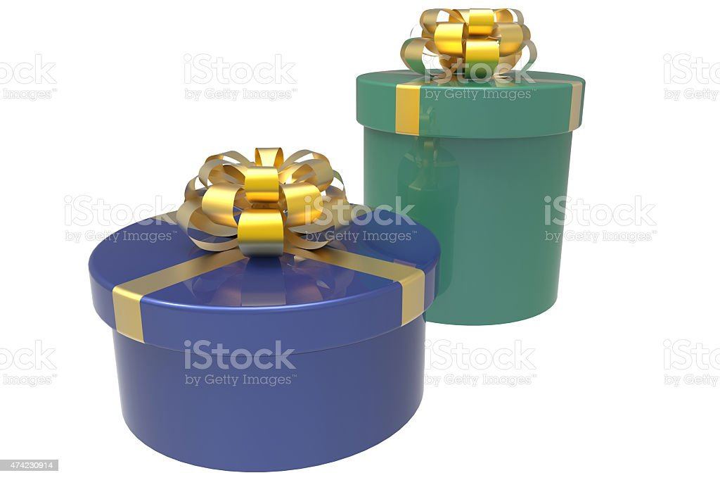 two gift boxes in blue and green stock photo