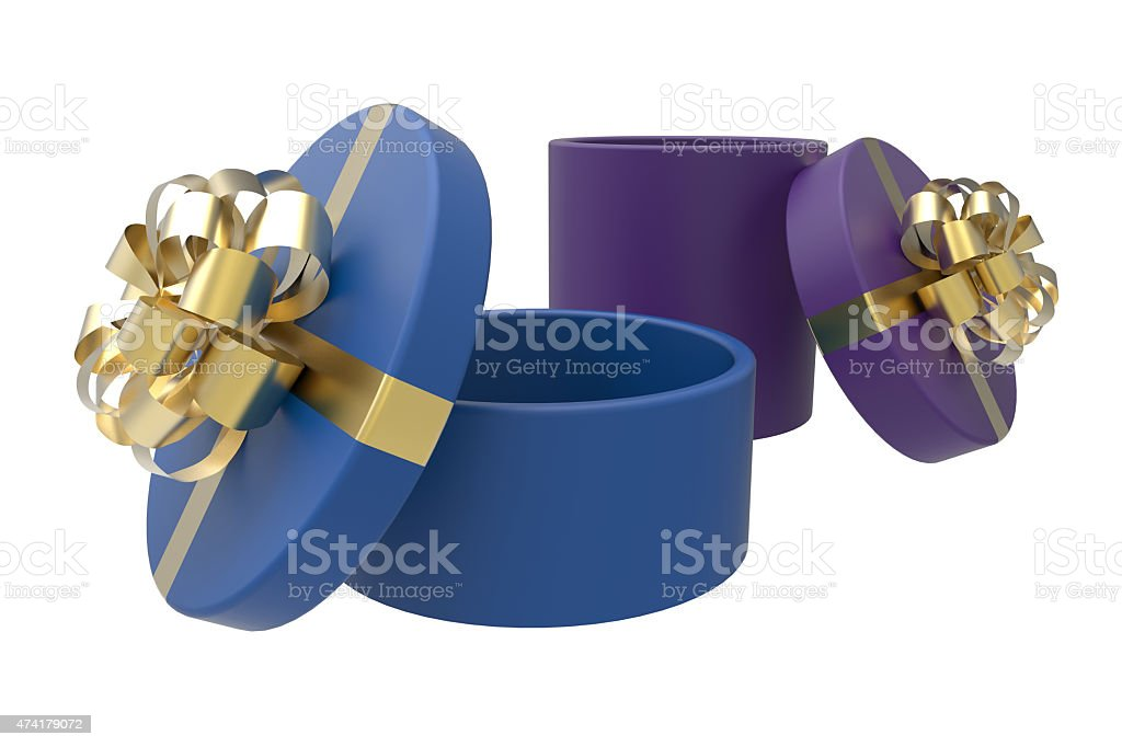 two gift boxes in blue and purple stock photo
