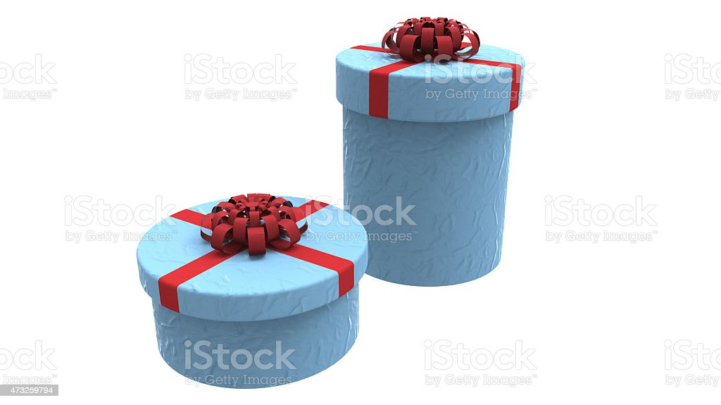 two gift boxes in blue stock photo