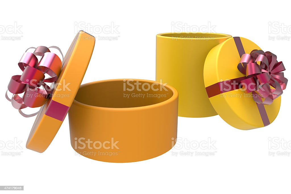two gift boxes in orange and yellow stock photo