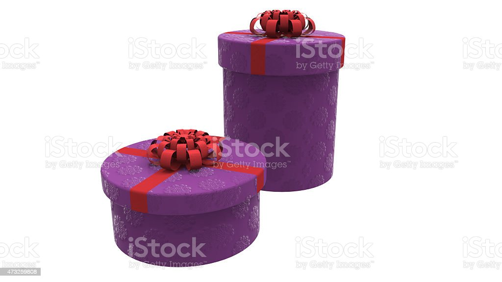 two gift boxes in purple stock photo