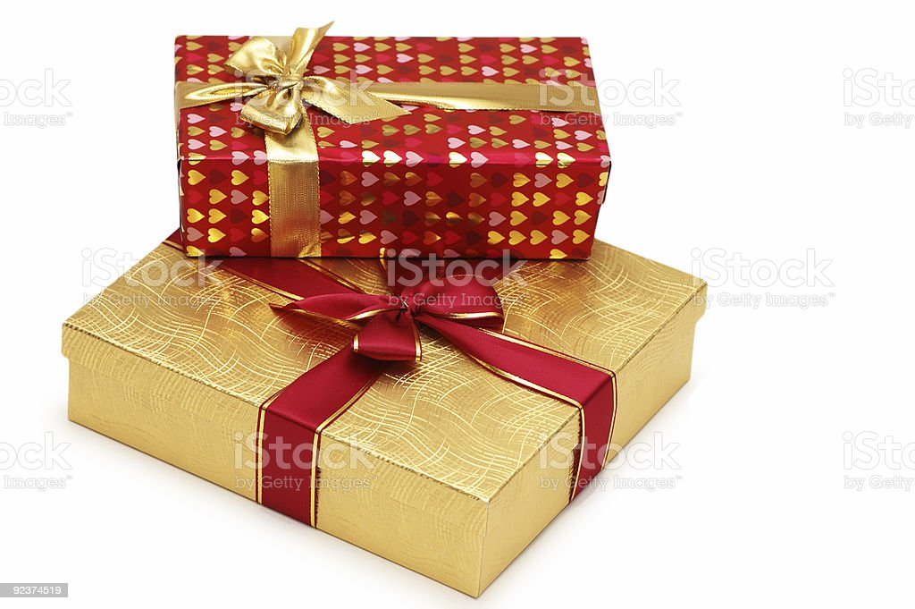 Two gift boxes isolated on white background royalty-free stock photo