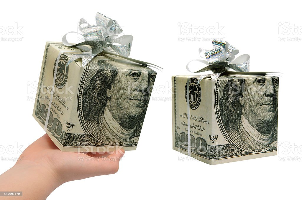 two gift boxes made of dollars royalty-free stock photo
