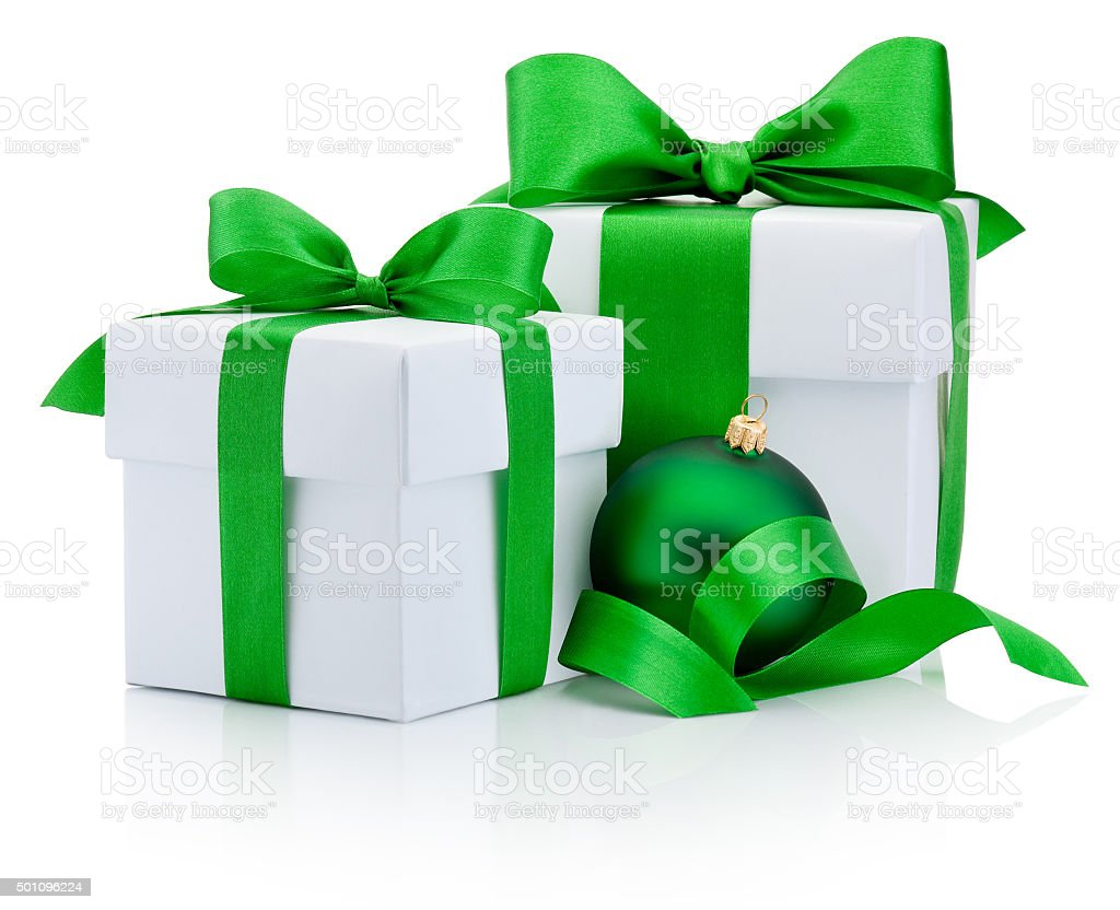 Two gift boxes tied green ribbon and christmas bauble Isolated stock photo