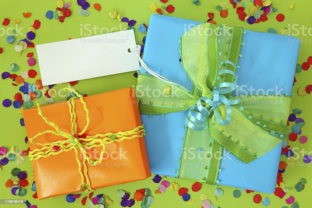 Two gift boxes with blank note royalty-free stock photo