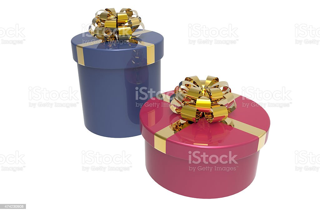 two gift boxes with shiny bowknots stock photo