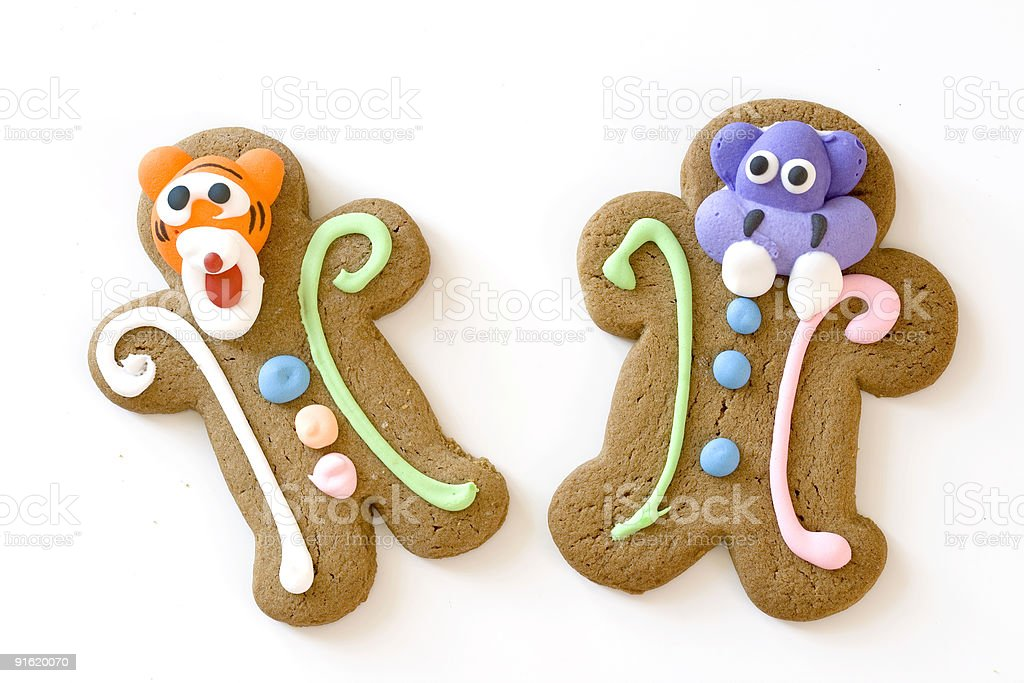 two gingerbread characters royalty-free stock photo
