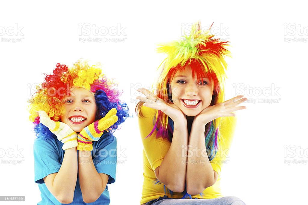 Two girl wearing party costumes. royalty-free stock photo