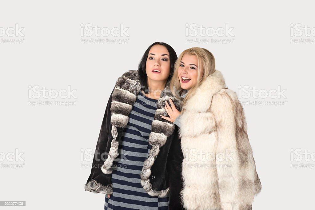 two  girlfriends in short fur coats walk stock photo