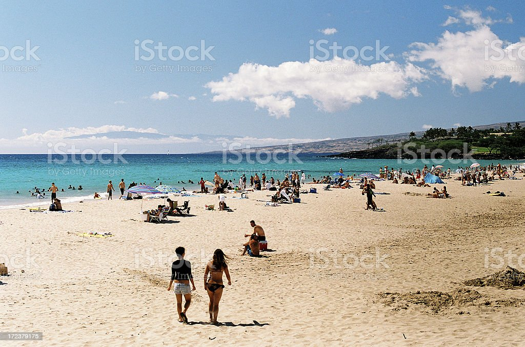 Two girls and Hawaii  beach scene royalty-free stock photo