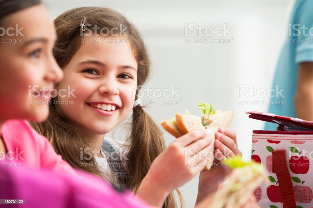 Two Girls At School-Lunch Time royalty-free stock photo