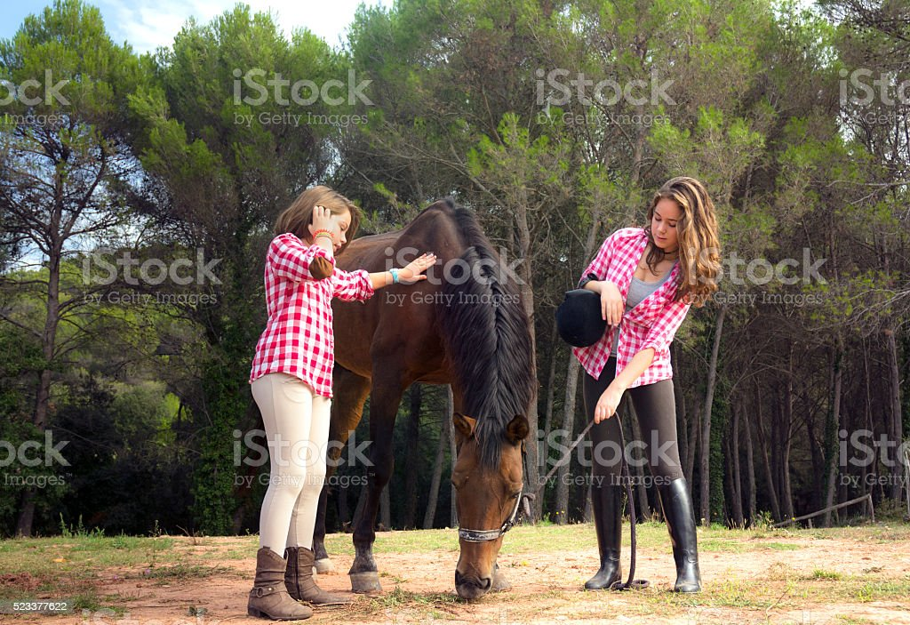 Two girls caring for their horse stock photo