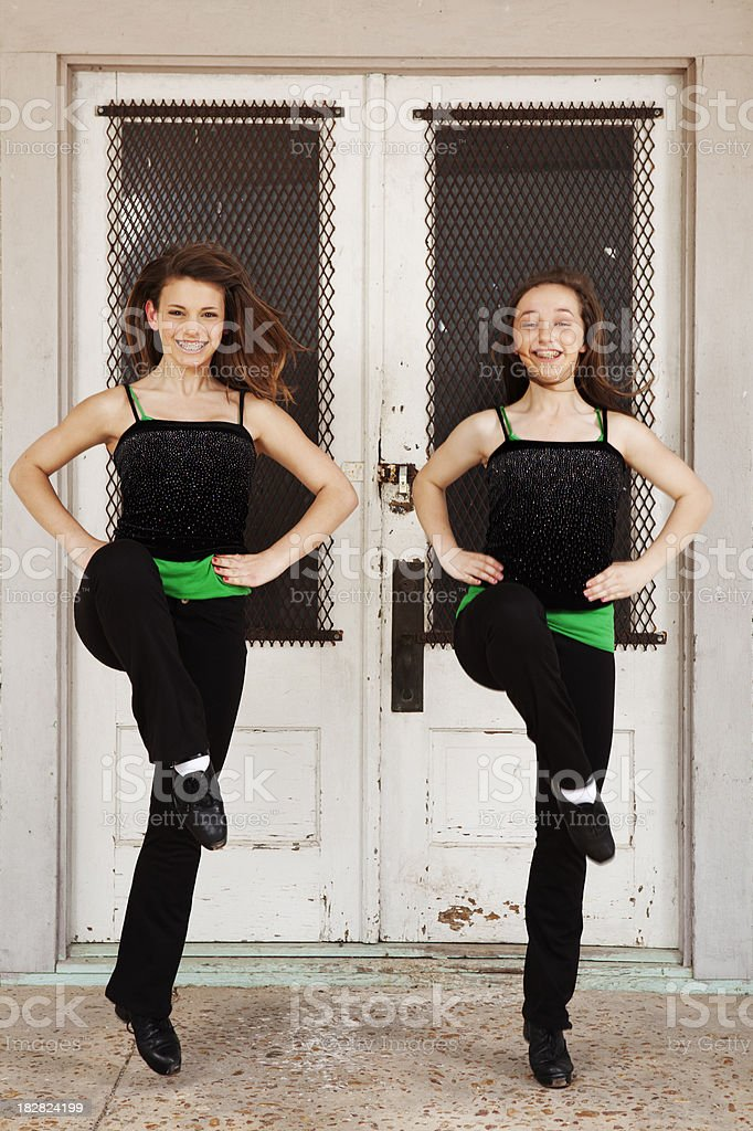 Two girls dancing Irish dance royalty-free stock photo