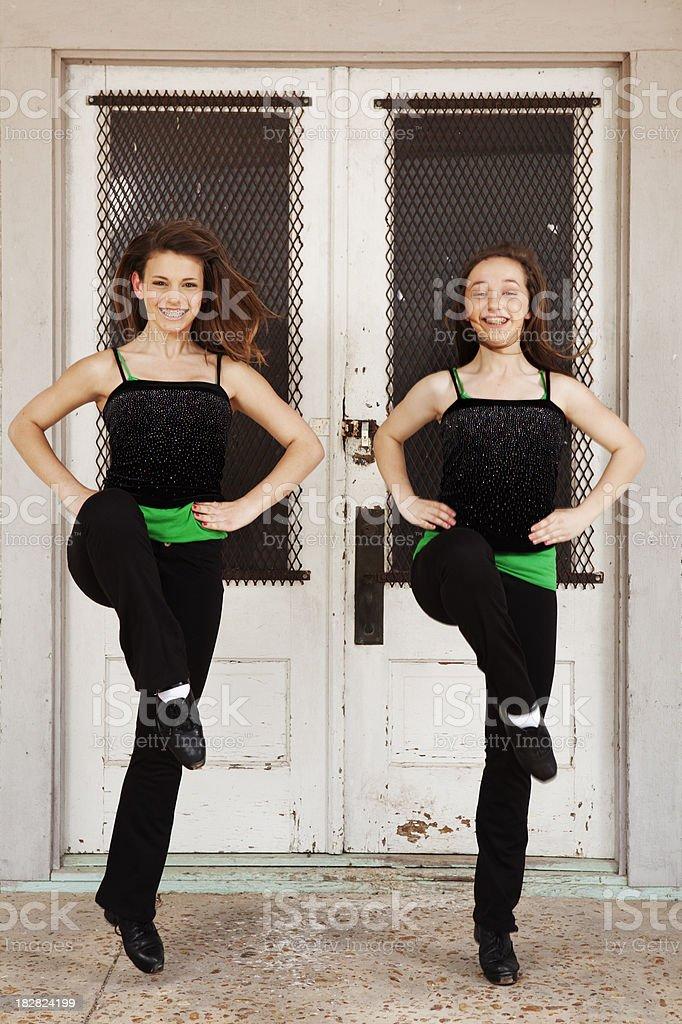 Two girls dancing Irish dance stock photo