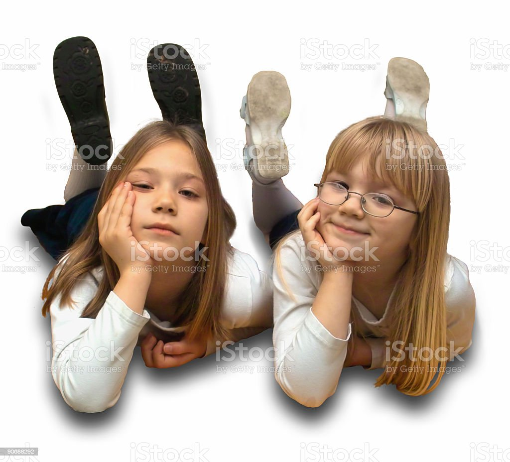 Two Girls Daydreaming royalty-free stock photo