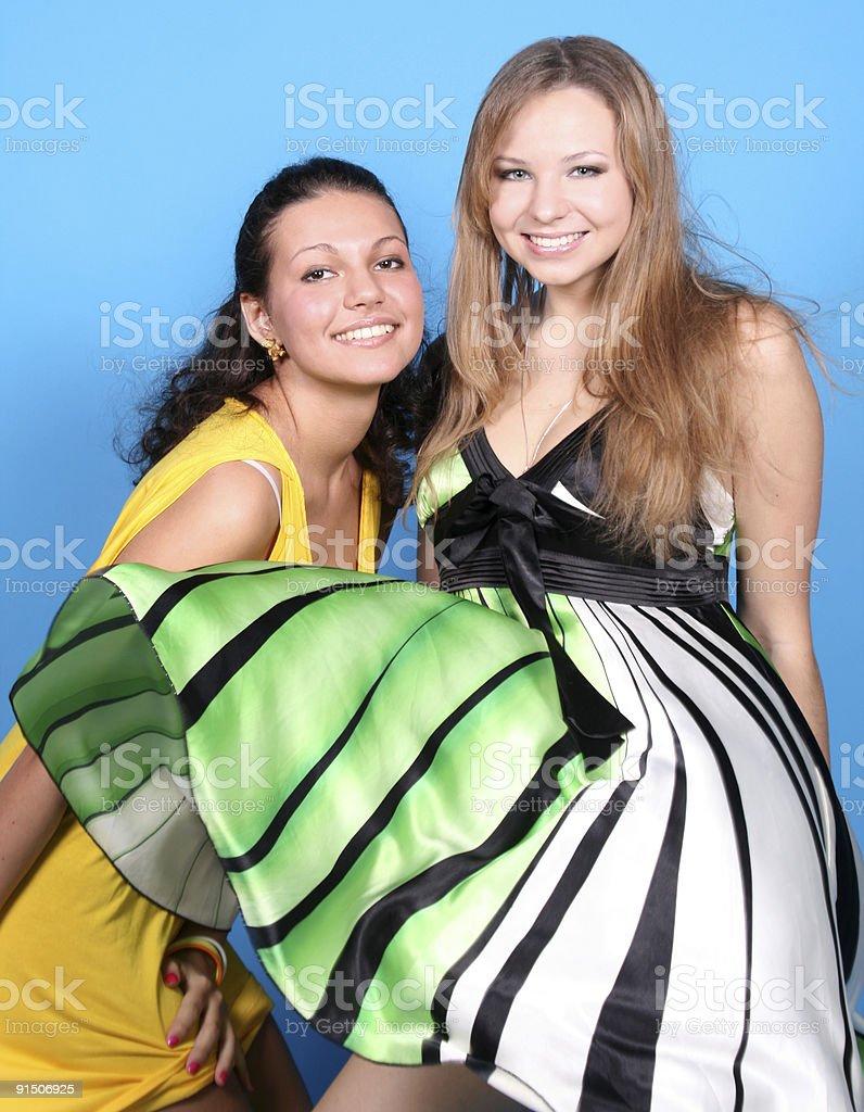 Two girls having fun royalty-free stock photo