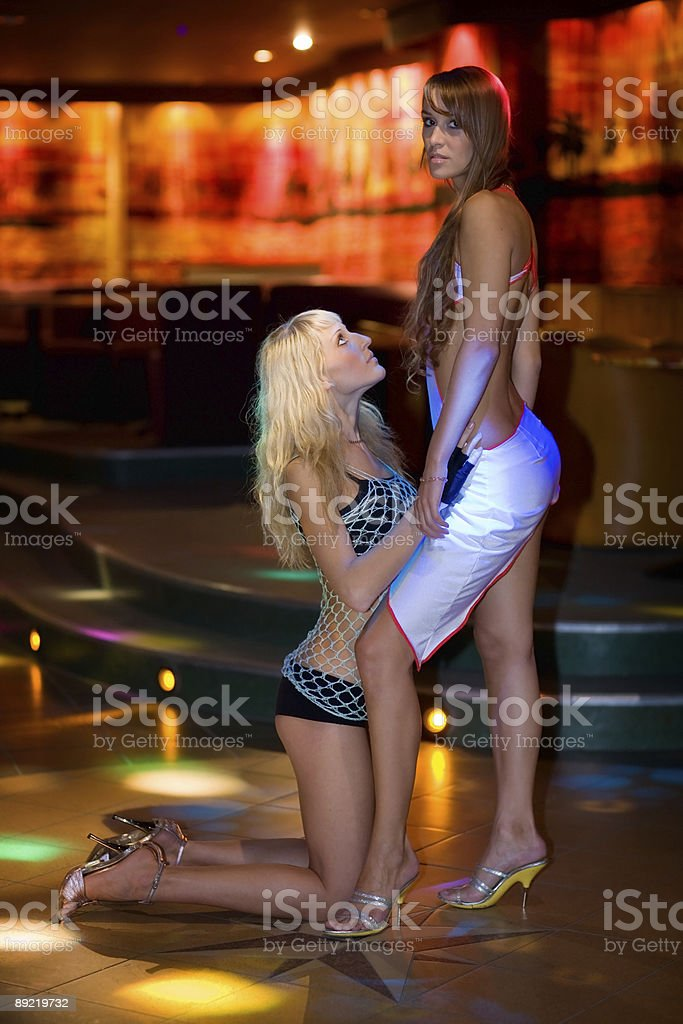 Two girls in a night club royalty-free stock photo