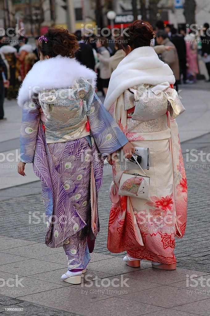 two girls in kimono royalty-free stock photo