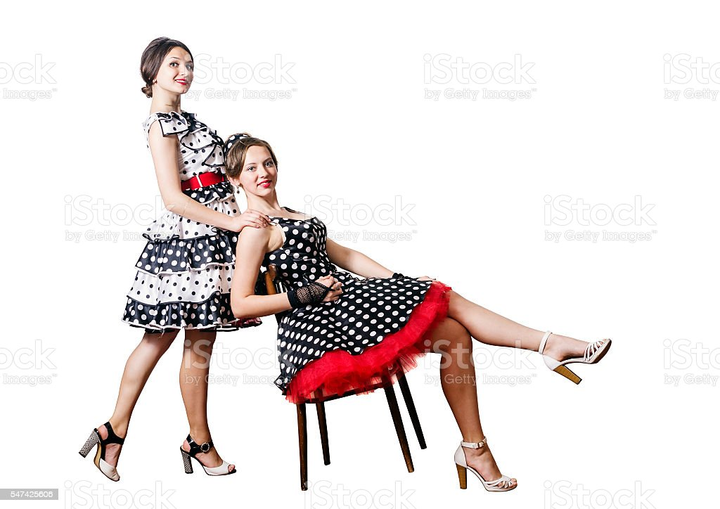 Two girls in Pin-up style stock photo