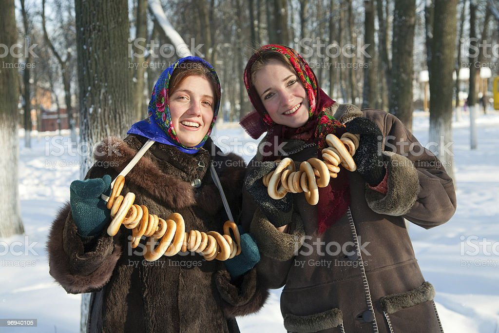 Two girls in russian traditional  clothes stock photo