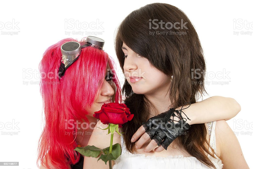 Two girls in studio stock photo