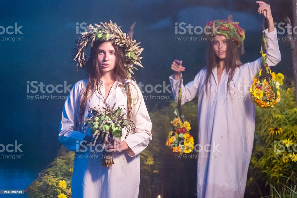 Two Girls In Wreaths stock photo