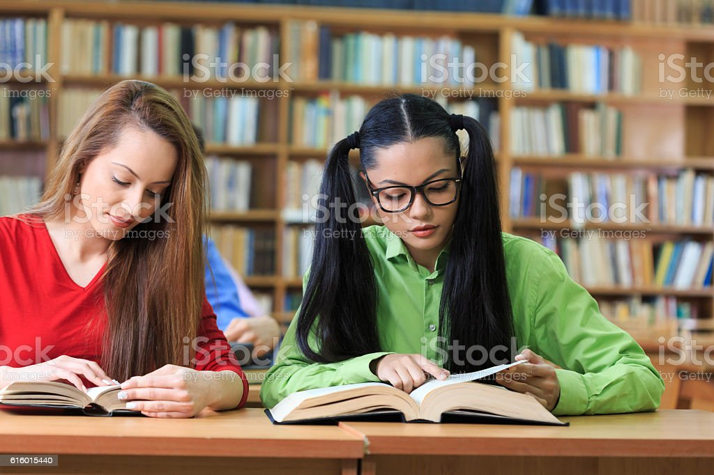Two girls reading books at library stock photo