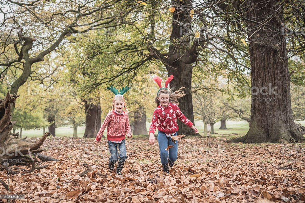 Two girls running through Autumn leaves in forest stock photo