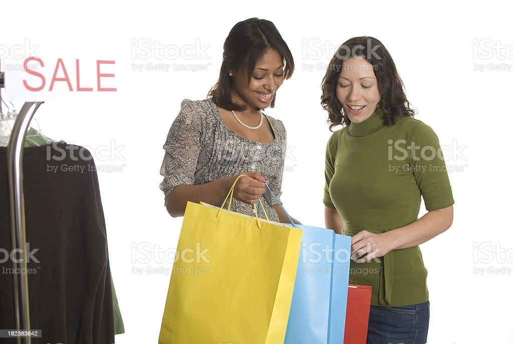 Two Girls Shopping royalty-free stock photo