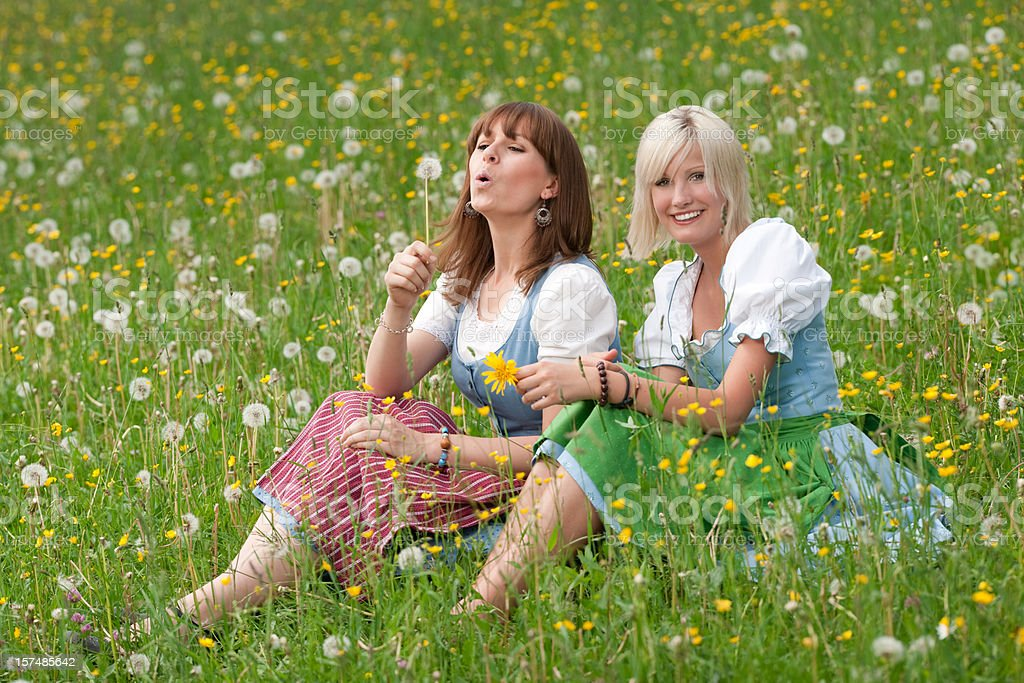 Two girls sitting in the meadow having fun (XXXL) royalty-free stock photo