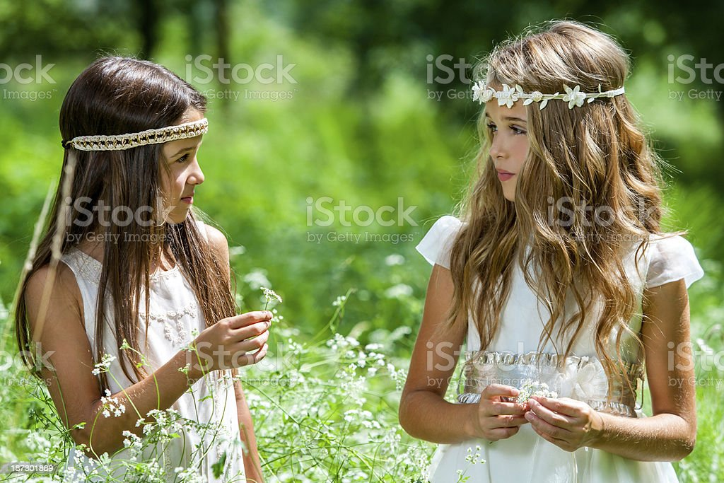 Two girls standing in flower field. stock photo