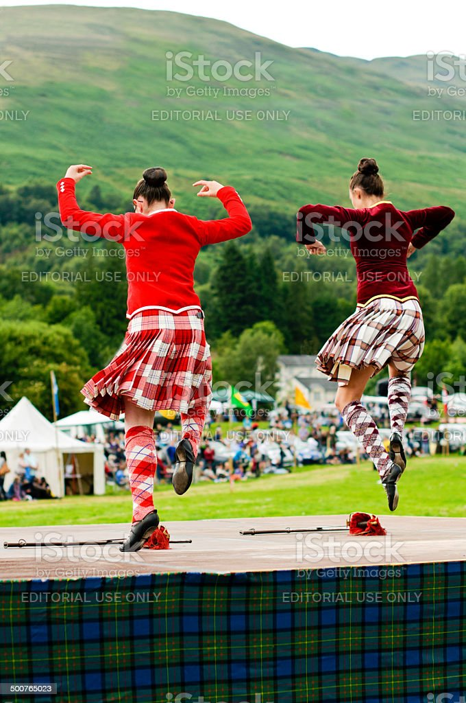 Two girls sword dance stock photo