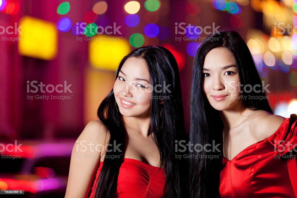 Two glamour girls royalty-free stock photo