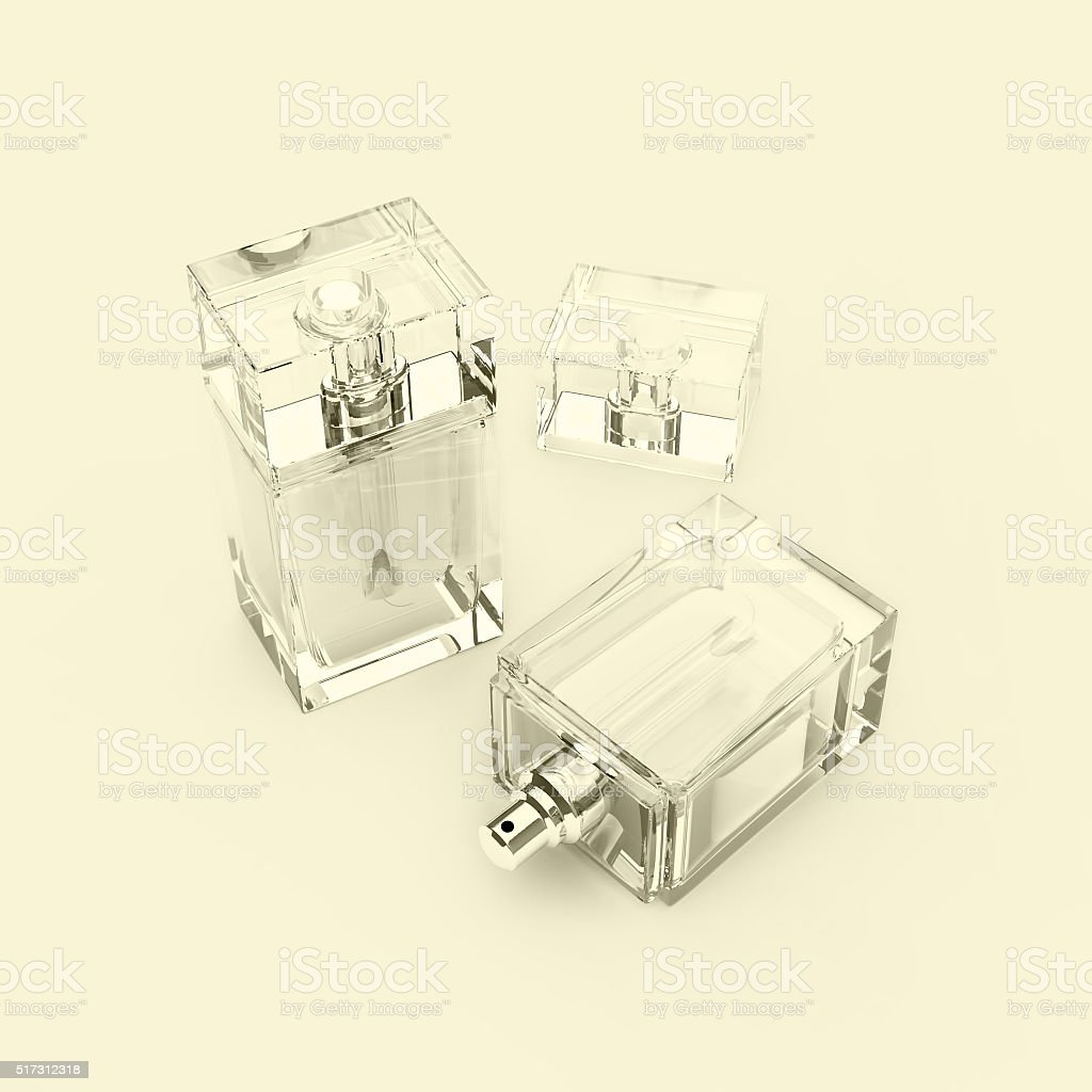 Two glass bottles of male perfume. stock photo